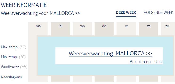 Weersverwachting Mallorca